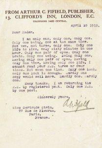 La chicca delle lettere di rifiuto: dall'editore Fifield a Gertrude Stein